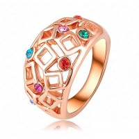 Multicolor Tiny Square Austrian Crystal Gold Plated Ring
