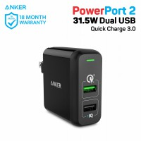 Anker Wall Charger PowerPort 2 Quick Charge 3.0 Hitam - A2024111