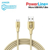 Kabel Charger Anker PowerLine+ Micro USB 6ft/1.8m A8143 Gold