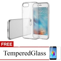 Case for Apple iPhone 7 Plus - Clear + Gratis Tempered Glass - Apple Ultra Thin Soft Case