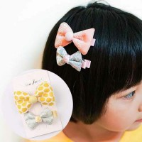 ACC RAMBUT 026899r JRK Childrens Bow Hairpin Yellow-Leaves Green