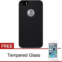 Case iPhone 5/5s Frosted HardCase (Hitam)  Free Tempered Glass