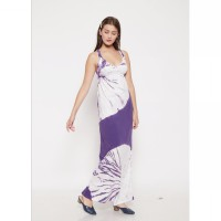 The-Fahrenheit Arcade Smooth Long Dress - White Purple