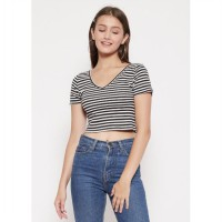 The - Fahrenheit Arlenne Crop Striped Women Top