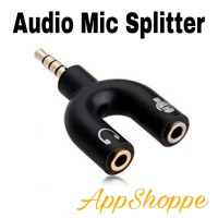Splitter Audio Stereo to Headset & Mic Plug 3.5mm Jack Adapter