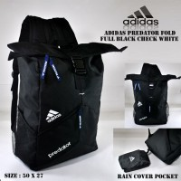 Tas ransel adidas predator fold full black check white free rain cover