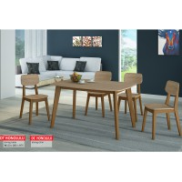 Anya Living Meja Makan Honolulu Dinning Set - Natural