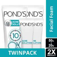TWIN PACK - PONDS ACNE SOLUTION FACIAL FOAM ON 2IN1 50 AND 20-y