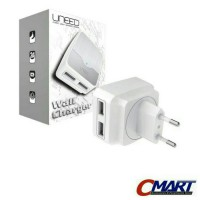 Uneed Colokan Listrik 2 port 2.4A micro USB wall Charger - UCH02P2