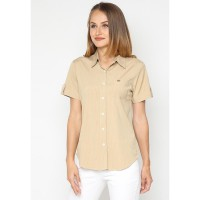Mobile Power Ladies Basic Short Sleeve Striped Shirt -  Brown K8396Z