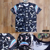 Kaos Oblong Branded BAPE A Bathing Ape City Camo Shark Shoulder Glow In The Dark MIRROR Quality