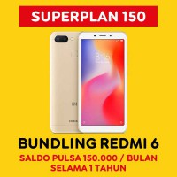 Indosat Ooredoo Starter Pack Super Plan 150 - 12 Bulan Bundling Xiaomi Redmi 6 (4GB/64GB) - Gold
