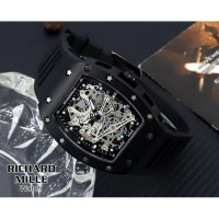 JAM TANGAN PRIA RICHARD MILLE RUBBER CHRONO OFF BLACK COVER WHITE