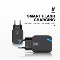 CHARGER LIGER LED 28W 2USB FAST & QUALCOM QUICK CHARGE 3.0