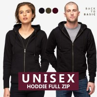 Unisex Jaket Hoodie Full Zipper Long Sleeve Sweatshirt - Available In 3 Colors - Cotton