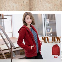 Hodie Jacket with Ziper plain colour Red