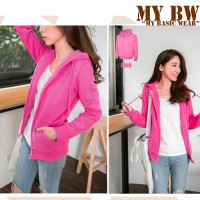 Hodie Jacket with Ziper plain colour Pink