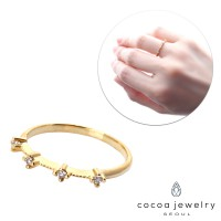 Cocoa Jewelry Cincin Wave Cluff Gold Color - No Box