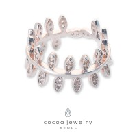 Cocoa Jewelry Cincin Leaf Bowling Silver Color