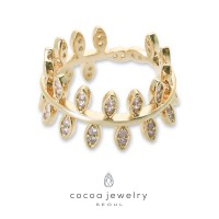 Cocoa Jewelry Cincin Leaf Bowling Gold Color