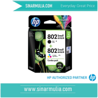HP 802 2-pack Small Black/Tri-color Original Ink Cartridges CR312AA