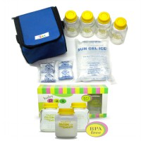 Baby Pax Bundling Cooler Bag Set Blue + Botol Kaca ASI 3in1