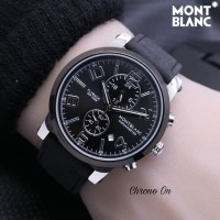 Jam Tangan Pria Montblanc Chrono ON 03 Leather Black Silver