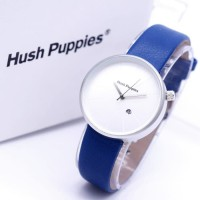 Jam Tangan Wanita / Cewek Hush Puppies Bulat Leather Blue Silver