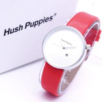 Jam Tangan Wanita / Cewek Hush Puppies Bulat Leather Red Silver