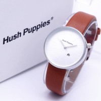 Jam Tangan Wanita Hush Puppies Bulat Leather Light Brown Silver