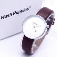 Jam Tangan Wanita / Cewek Hush Puppies Bulat Leather Dark Brown Silver