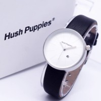 Jam Tangan Wanita / Cewek Hush Puppies Bulat Leather Black Silver