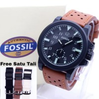Jam Tangan Pria / Cowok Fossil Paket 05 Leather Light Brown