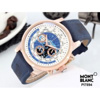 Jam Tangan Pria Montblanc Chrono ON 02 Leather Blue