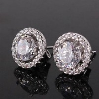 Anting round white stunning wedding party zirconia stud earrings gold plated lapis emas