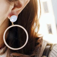 Big Ring Candy Color Star Love Earrings - Blue & Beige