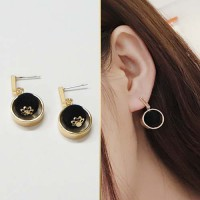 Earrings Fall and Winter Small Puffs - Black