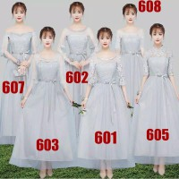 Bridesmaid dress gaun pesta panjang warna abu renda