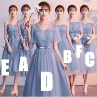 Bridesmaid dress gaun pesta panjang midi biru abu stripes vertical