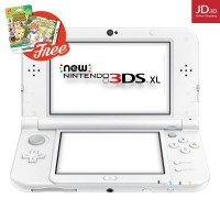 Nintendo NEW 3DS XL White + Screenguard + 3RD Party Adapter (Region Asia) - FREE Game 3DS