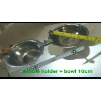 Tempat makan anjing kucing double holder crome with bowl 10cm