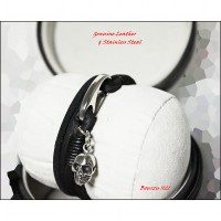 GELANG BOURZU 1121 Genuine Leather & Stainless Steal