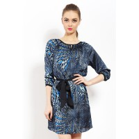 Mint Eliza, Printed Silky Sateen Tunic Blue - ACBJMNTL0171