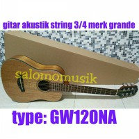 gitar akustik string 3/4 grande BROWN GOLD NATURAL + Tas / Softcase