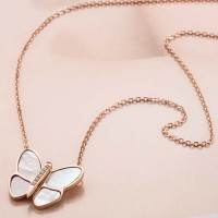 Sweet Gray Shells Small Butterfly Diamond Titanium Steel Necklace - Rose Gold