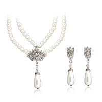 Fashion Classic wedding Pearl Silver Plated Jewelry Sets