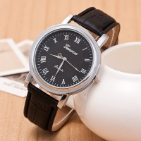 Jam Tangan Pria Simple But Stylist Geneva Leather Strap, Jam Tangan kulit, Silver Frame, Jam Murah