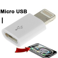 Micro USB Female to Lightning 8 Pin Adapter for iPhone - White