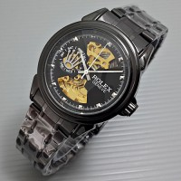 Rolex Skeleton Geneve Rantai Full Black