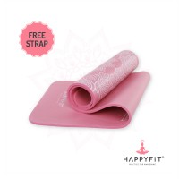 HAPPYFIT MATRAS OLAHAGA NBR - PINK MOTIF 10MM /EXERCISE/GYM MAT (+STRAP)